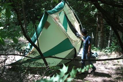 12南乗鞍キャンプテント乾し