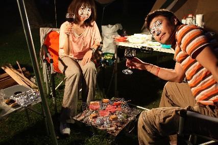 12.10琵琶湖畔キャンプ1BBQ乾杯夜