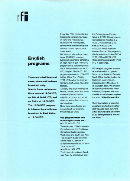 1990年代 RFI Radio France International English programs