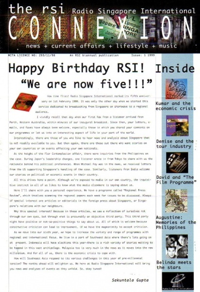 Issue: 1 1999 RSI Radio Singapore International CONNEXION