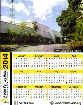 2014年 Radio Veritas Asia(フィリピン) ポケットカレンダー ステッカー