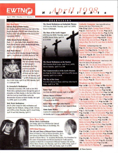 EWTN WEWN April 1998 Number 4 Volume 2 Highlights