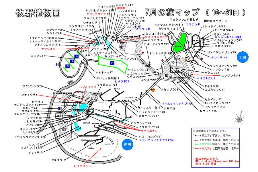 牧野植物園花マップ ( 7月16~31日 )