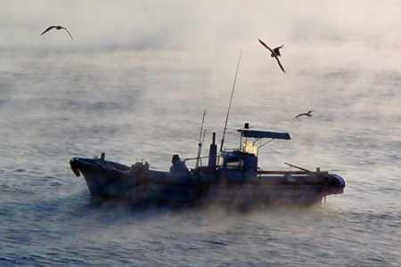 久礼湾堤防からの朝霧と漁船