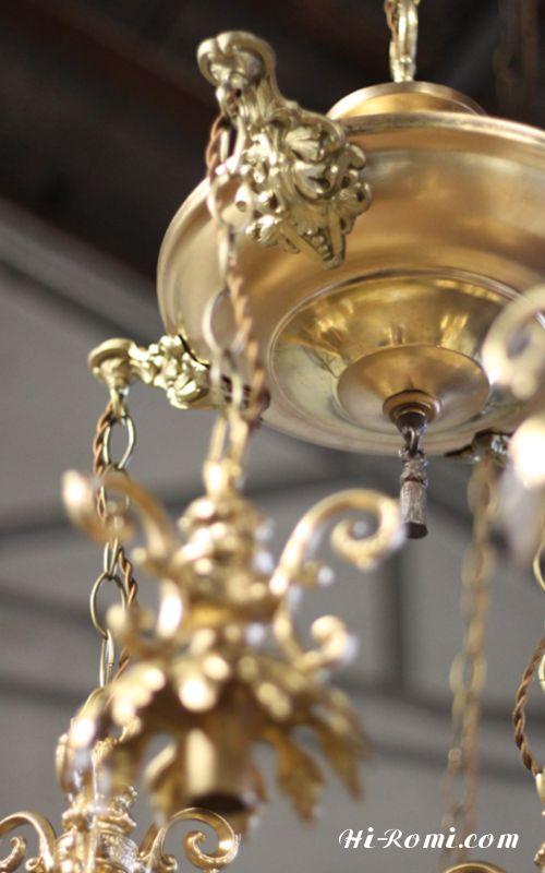 シャンデリア・真鍮製・ゴールド・アンティーク・シャンデリア・ゴージャス・ラグジュアリー