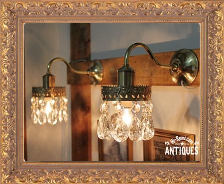 ティアドロップと真鍮レースの1灯シャンデリアウォールランプ(ペア)/アンティークブラケット
