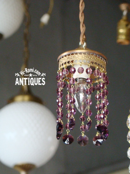 アメリカンアンティーク シャンデリア ビーズランプ プリズム ペンダントランプ 照明