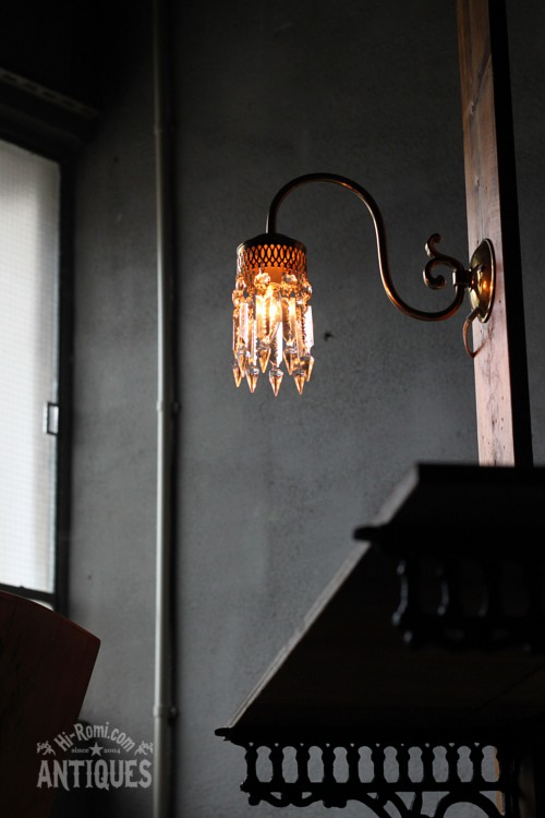アンティークブラケット ウォールランプ オーバーホール ガラス プリズム シャンデリア