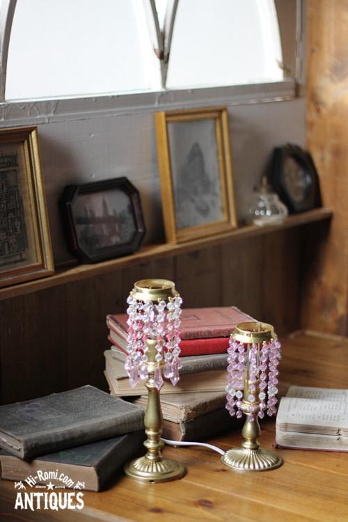 アメリカン ヴィンテージ アンティーク シャンデリア プリズム ランプ テーブルライト ビーズランプ 照明 Hi-Romi.com