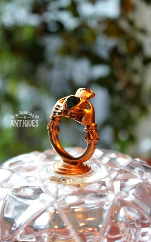 アイルランド クラダリング アンティーク ヴィンテージ ジュエリーケース コレクションボックス 宝石箱 ブロカンテ ガラス