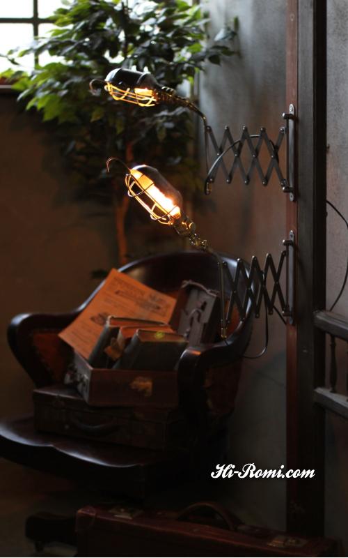 ヴィンテージインダストリアル(工業系)シザーランプ(蛇腹式)ワイヤーケージのトラブルライト Hi-Romi.com 神戸 20121007-1