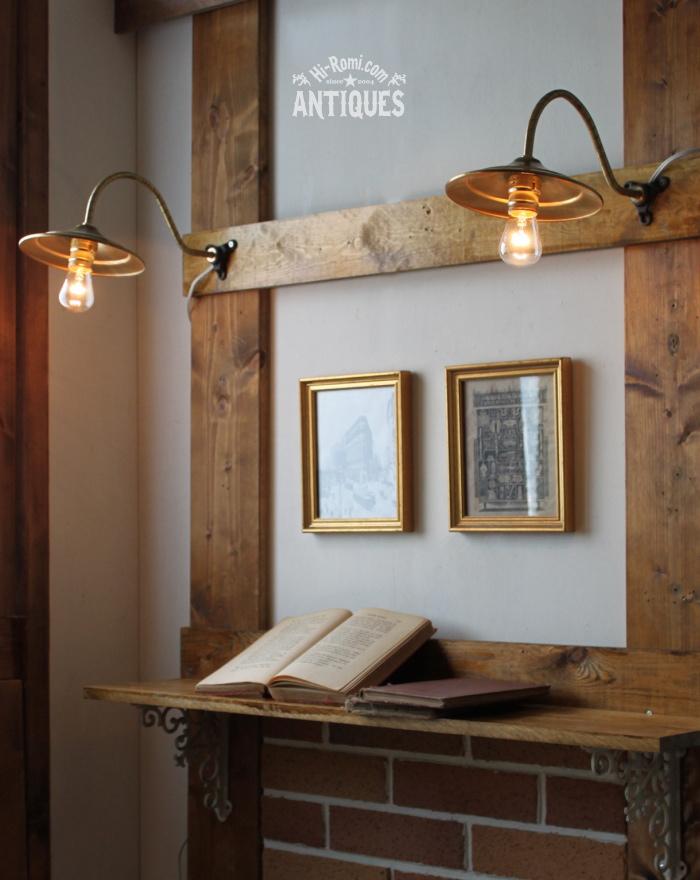 USA真鍮シェード工業系壁掛ライト/アンティークウォールランプ