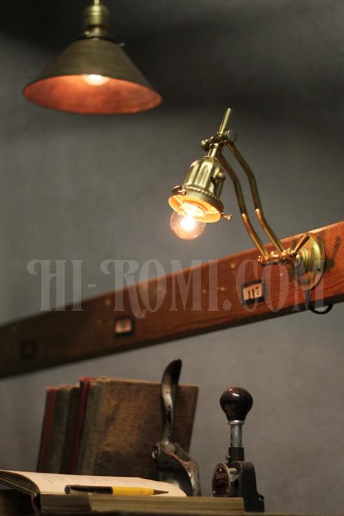 工業系 インダストリアル アンティーク ヴィンテージ 真鍮製 壁掛けランプ ウォールブラケット 照明計画 建築 設計 デザイン 店舗設計 新築 リノベーション 輸入 販売 製作 Hi-Romi.com ハイロミ