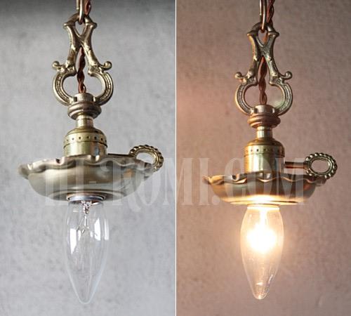 アンティーク ヴィンテージ 真鍮製装飾&チェーン付きソケットペンダントランプ 鍵付き吊下げライト 照明 ヴィクトリアン