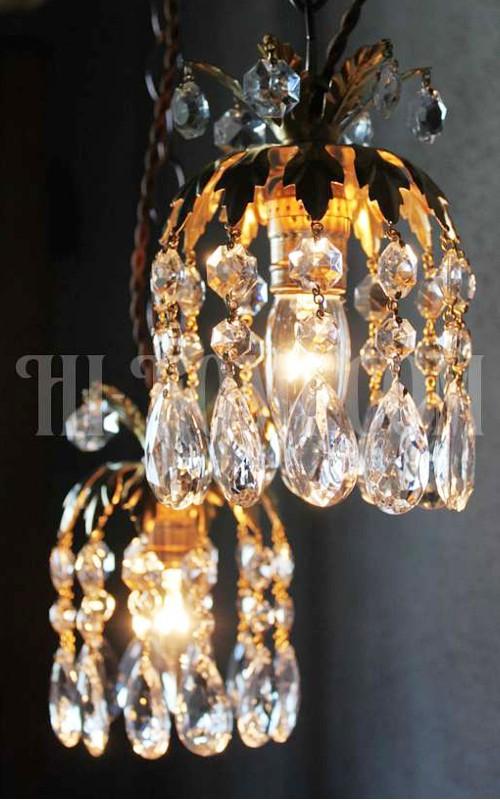 ヴィンテージ真鍮製フラワー飾りのプリズム1灯ペンダントランプ/アンティークシャンデリア照明/店舗 設計 新築 リノベーション リフォーム インテリア ライト