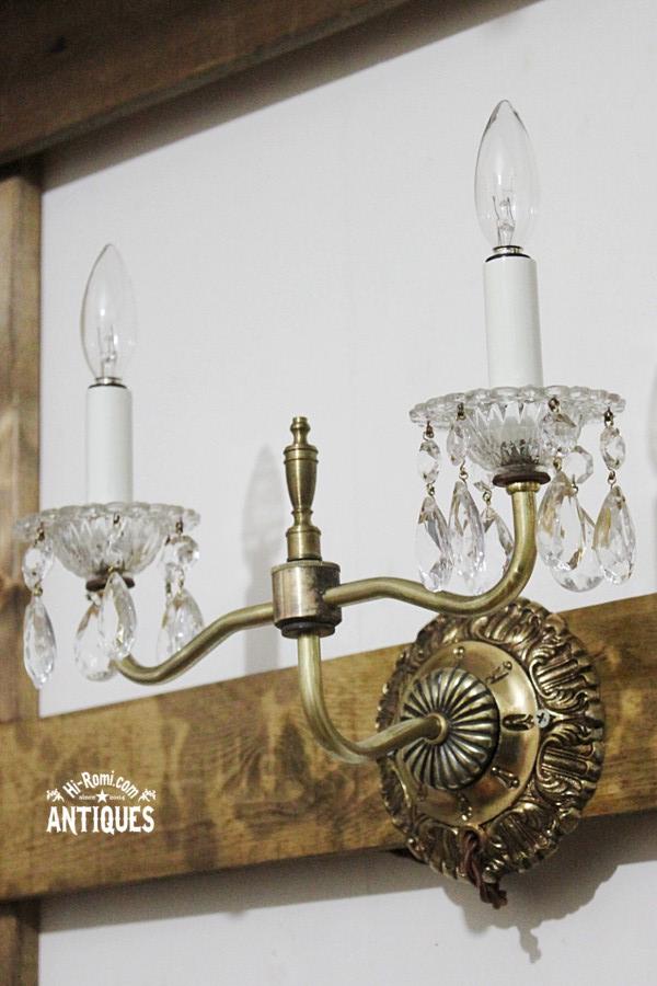 真鍮製土台ティアドロッププリズムの2灯キャンドルランプ/アンティーク・ヴィンテージ・ブロカント・コレクティブル照明