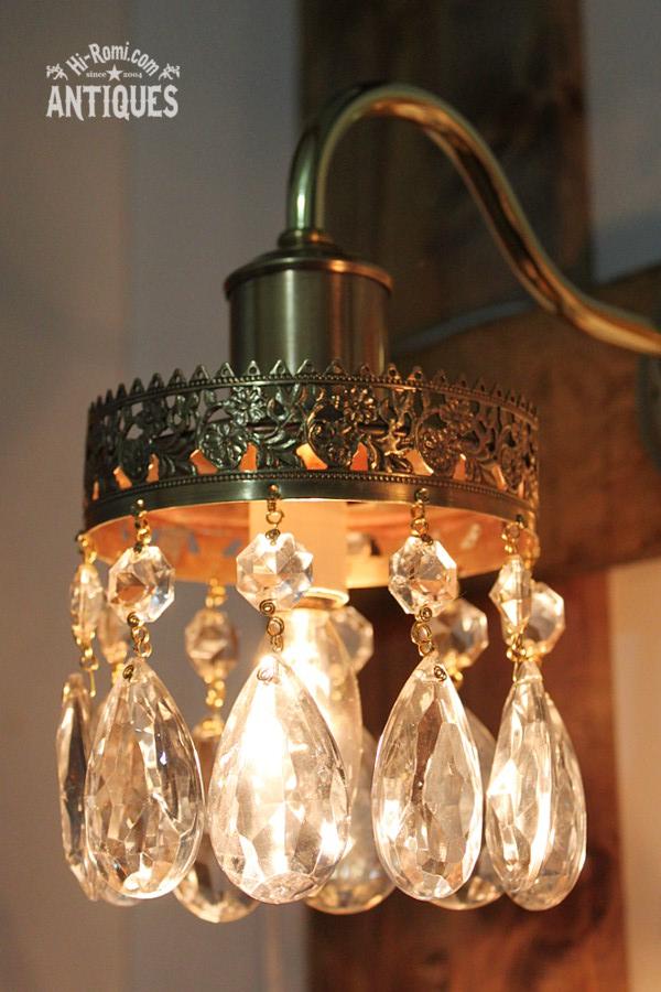 ティアドロッププリズム真鍮レース1灯シャンデリアウォールランプ(ペア)/アンティークブラケット