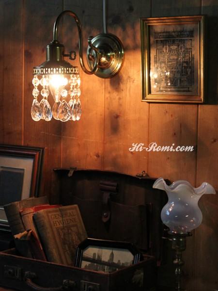 鍵スイッチ付きダブルカットティアドロッププリズムのウォールランプ/アンティークシャンデリア壁掛けライト 関西 神戸 Hi-Romi.com オーバーホール リペア リモデリング