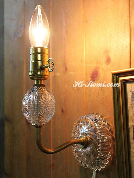ヴィンテージ鍵スイッチ付き幾何学模様のガラス製ウォールランプ/アンティーク壁掛けライト 関西 神戸 Hi-Romi.com オーバーホール リペア リモデリング