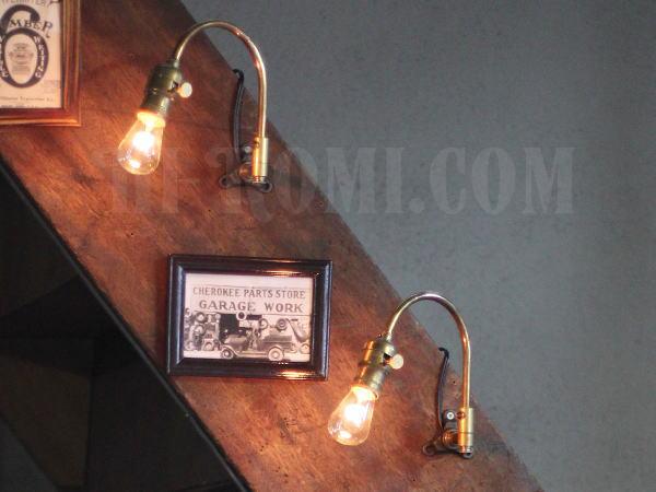 USA工業系真鍮製スウィングアームブラケット壁掛ライトA/ヴィンテージ照明 関西 神戸 Hi-Romi.com ハイロミドットコム