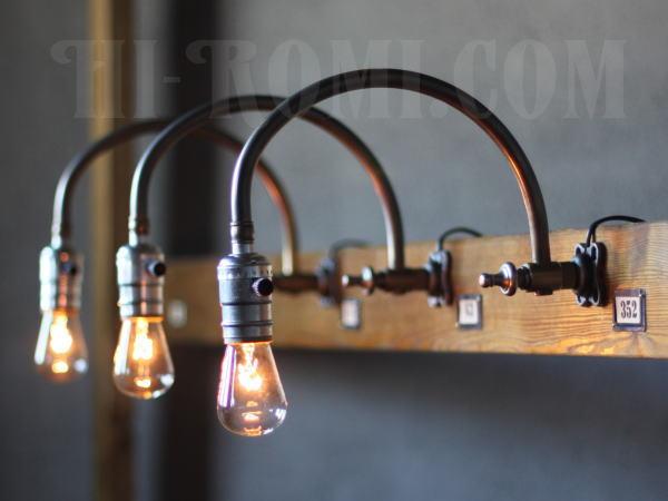 USAヴィンテージ工業系カーブアームブラケット壁掛ライト/アンティーク照明