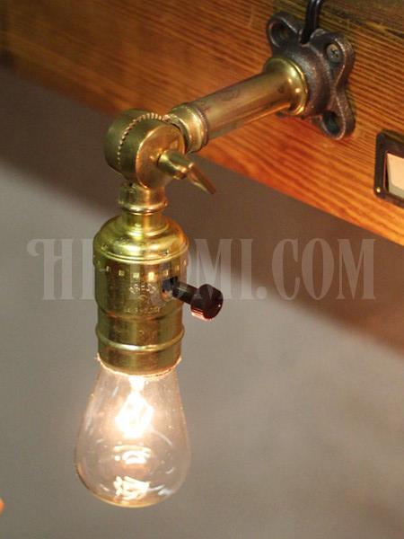 USAヴィンテージ工業系アルミ製Fソケット角度調整付ブラケットランプA/アンティーク壁掛け照明ライト