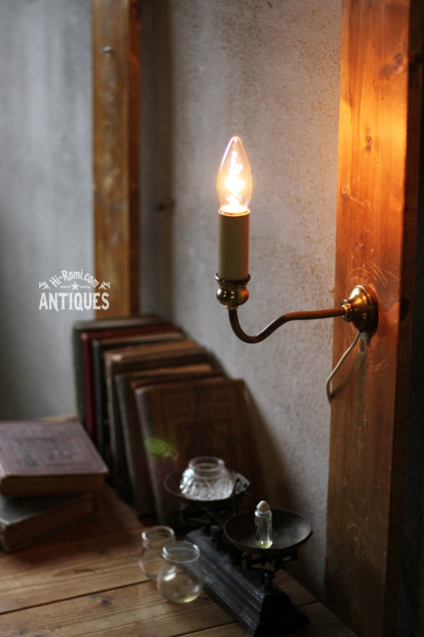 1灯キャンドルウォールランプブラケット/アンティーク工業真鍮