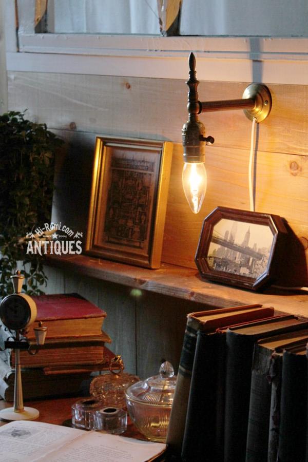 真鍮製1灯ブラケットウォールランプ/アンティーク工業系ライト