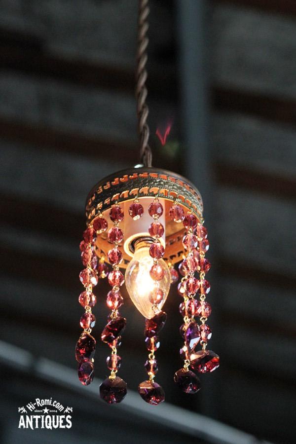 真鍮レースビーズペンダントランプ/アメジストアンティーク照明 YPL-12-4