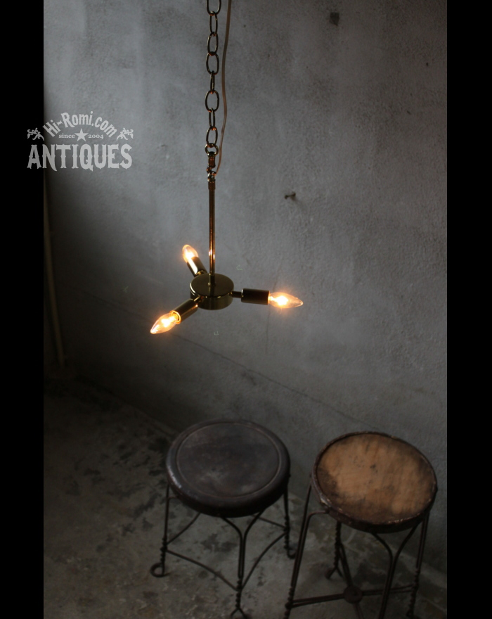 ミッドセンチュリー3灯ペンダントライト/アンティーク吊下ランプ