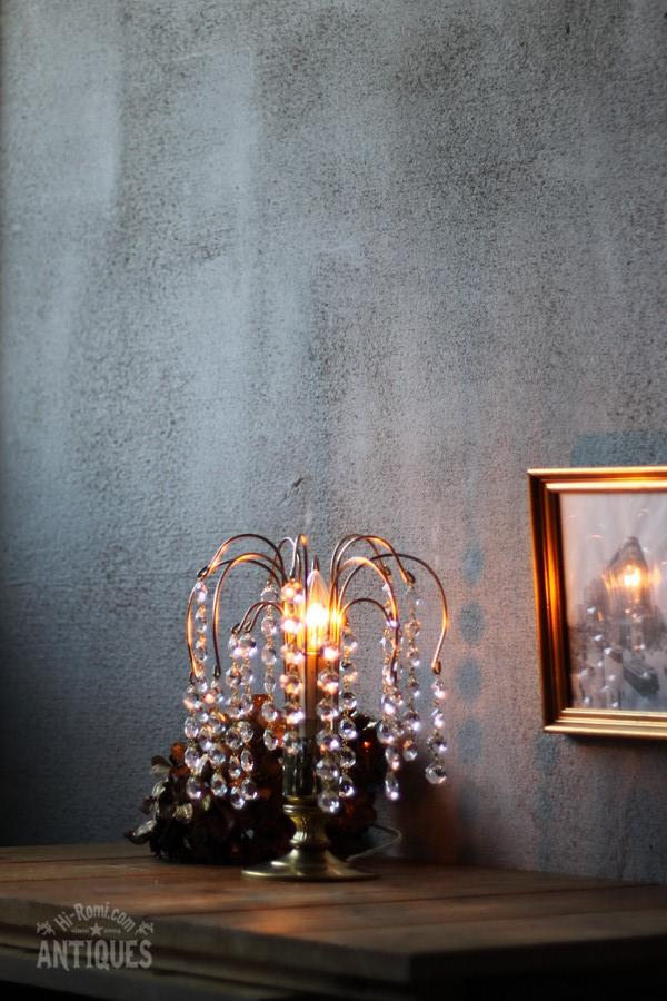 ヴィンテージオクタゴンプリズムシャンデリアテーブルランプ/アンティーク照明 卓上ライト Hi-Romi.com