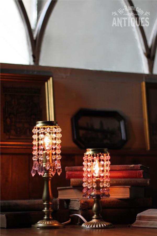 ビーズシャンデリアミニテーブルランプB (パープル)アンティーク照明ライト Hi-Romi.com
