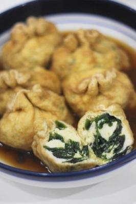 豆腐とわかめの袋煮