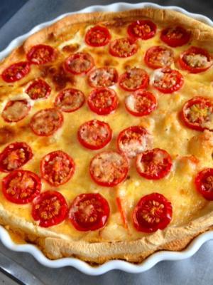 タラバガニとミニトマトのパンキッシュ