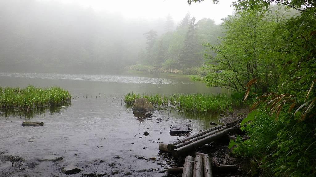 霧に包まれた万計沼