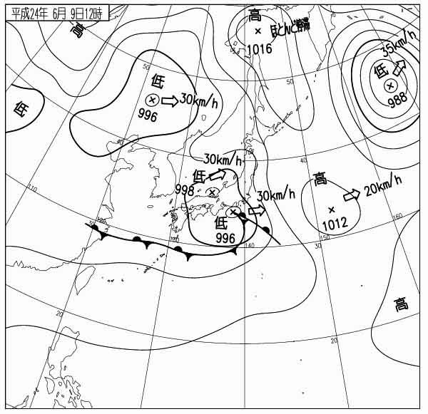 地上天気図 12060912