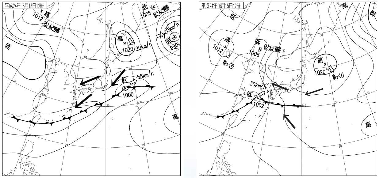 6月13日と15日の地上天気図