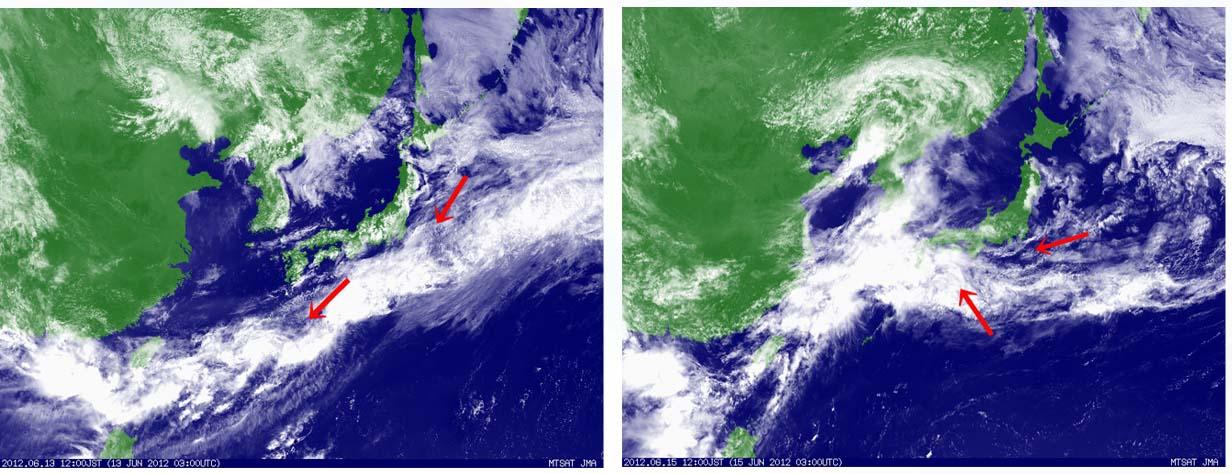 6月13日と15日12時の衛星可視画像