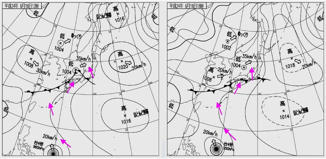 16日の12時と18時 地上天気図