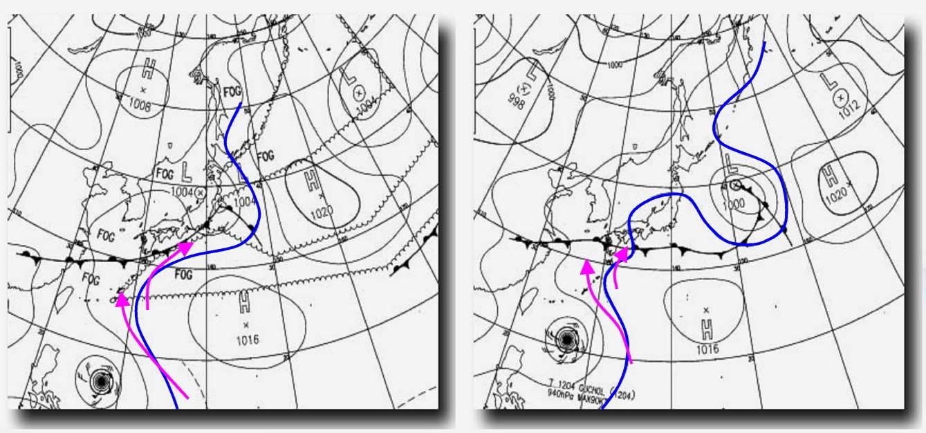 17日と18日9時の予想天気図