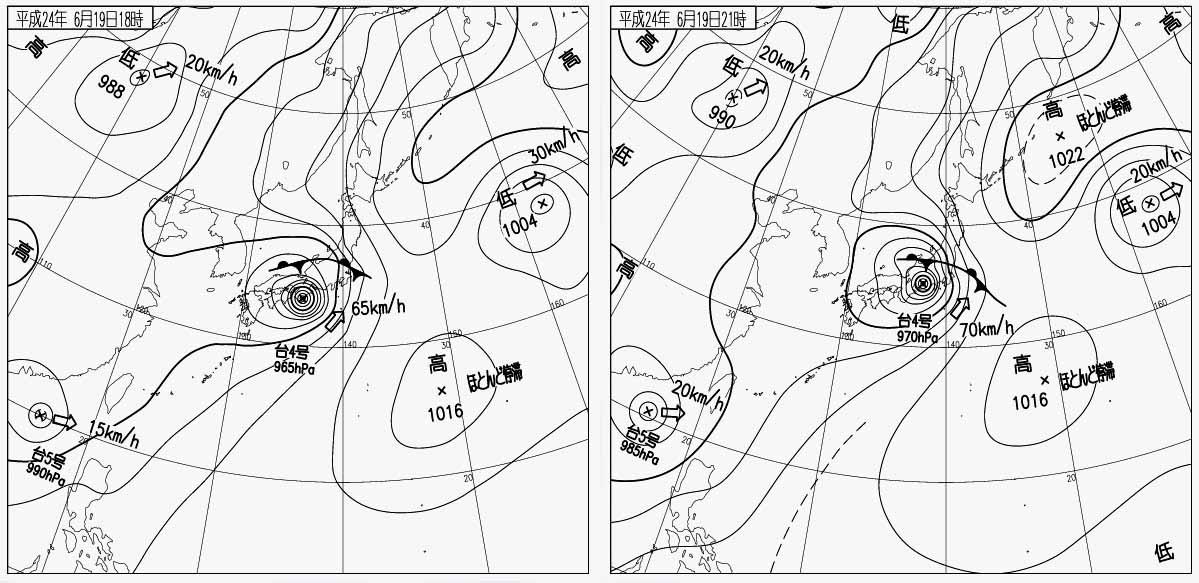 台風4号上陸~ 地上天気図 6月19日