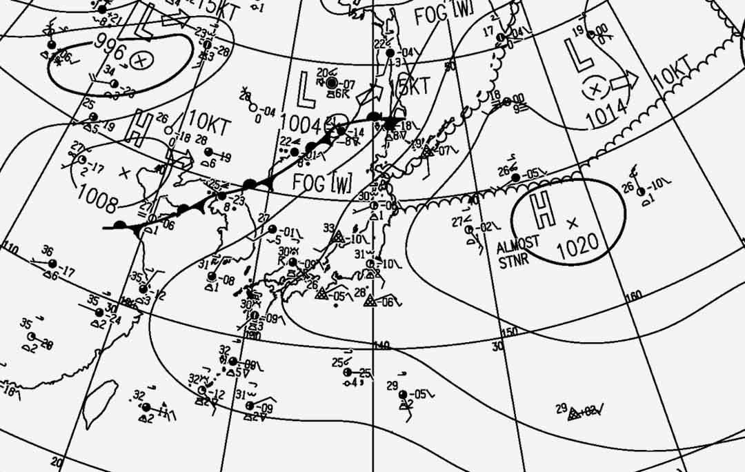 8月19日15時の地上天気図