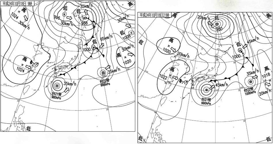 10月18日の雨と天気図