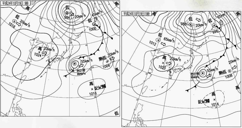 10月19日の晴天と天気図