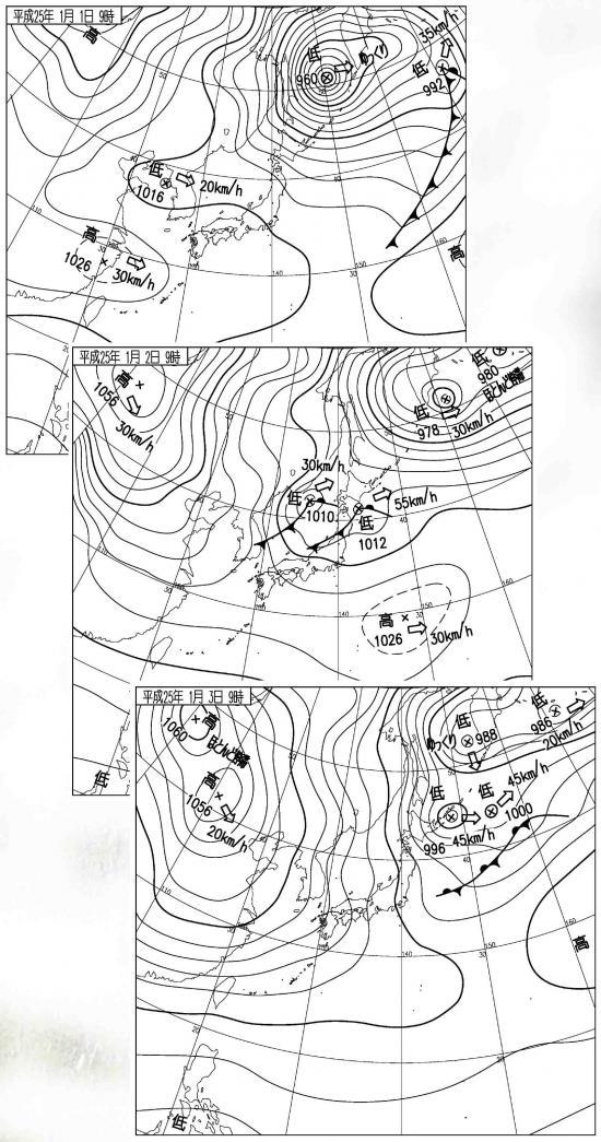 ■1月1日~3日の地上天気図
