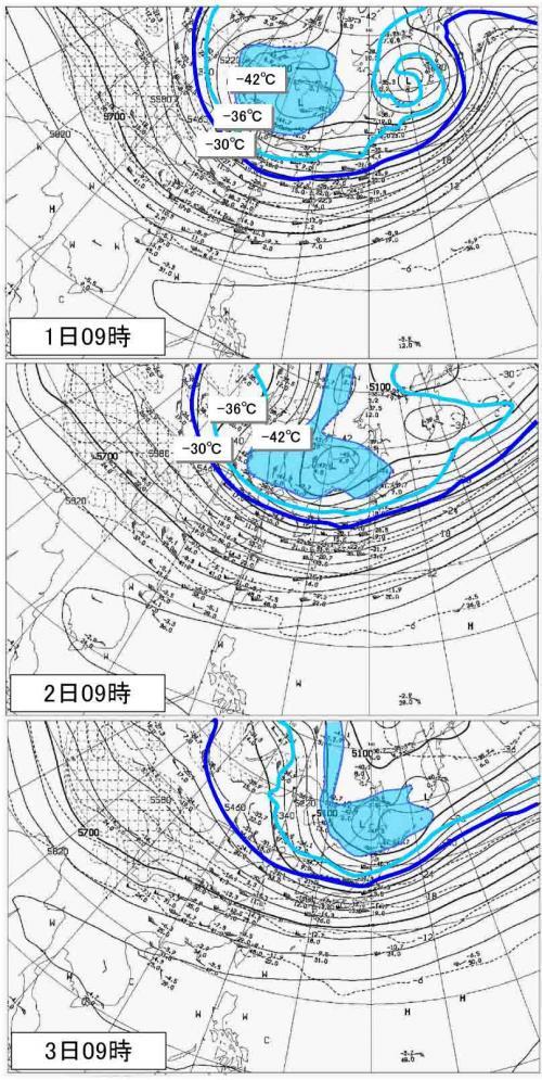 ■1月1~3日 上空寒気の様子