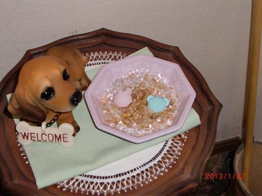 今さらだけど、八角形のお皿と水晶と盛り塩