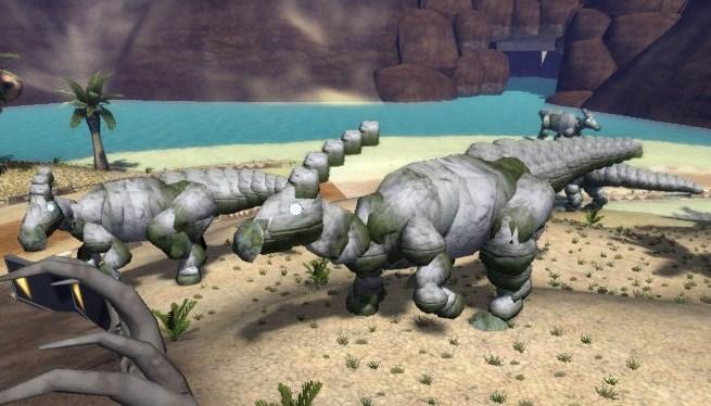 ♂のトサカが岩5個分。♀が3個分