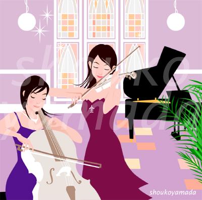 若い女性の人物イラスト素材 バイオリンとコントラバスの演奏会