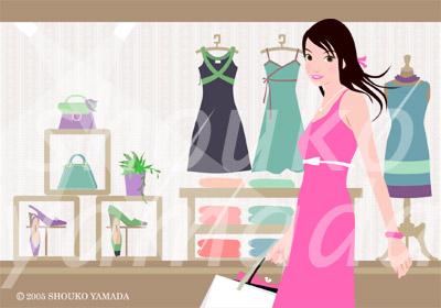 ウインドショッピング 若い女性の人物イラスト素材(有料)